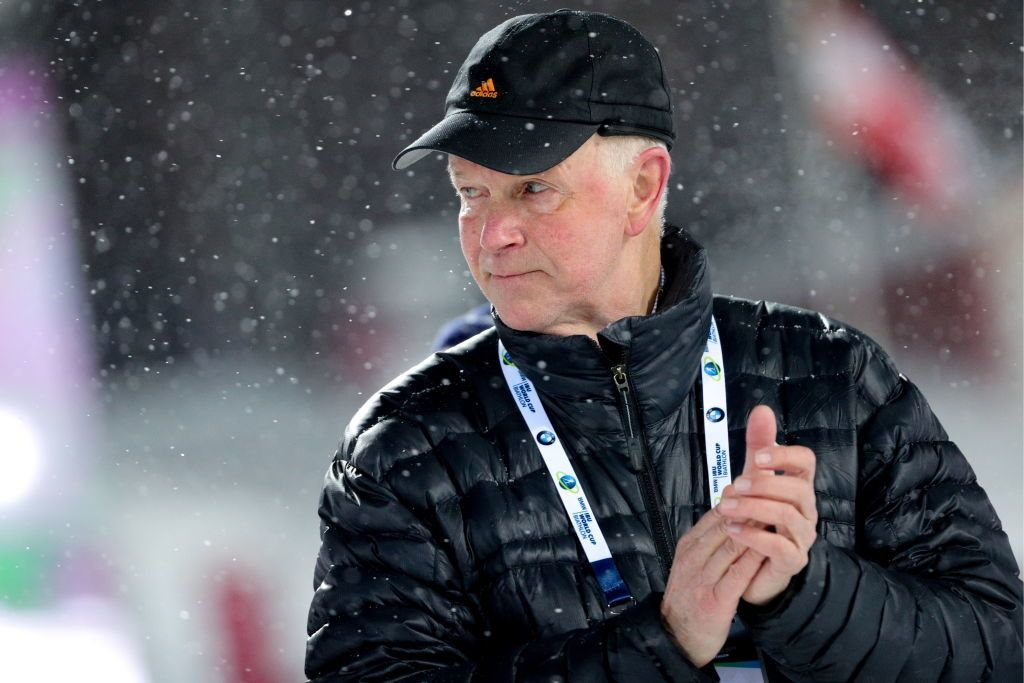 TYUMEN, RUSSIA - MARCH 23, 2018: Anders Besseberg, president of the International Biathlon Union (IBU), at an award ceremony for the women's 7.5km sprint competition at the 2017/18 IBU Biathlon World Cup meeting in Tyumen, Russia. Sergei Bobylev/TASS (Photo by Sergei BobylevTASS via Getty Images)