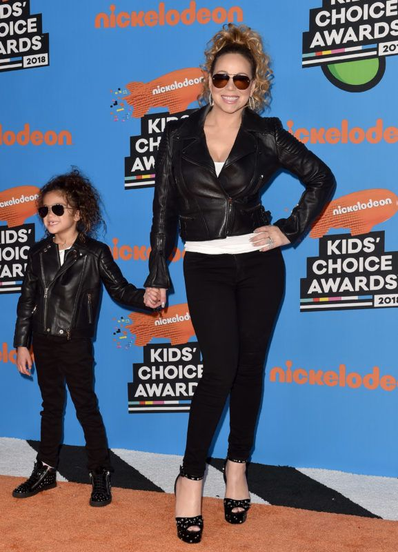 INGLEWOOD, CA - MARCH 24:  Singer Mariah Carey and daughter Monroe Cannon attend Nickelodeon's 2018 Kids' Choice Awards at The Forum on March 24, 2018 in Inglewood, California.  (Photo by Axelle/Bauer-Griffin/FilmMagic)