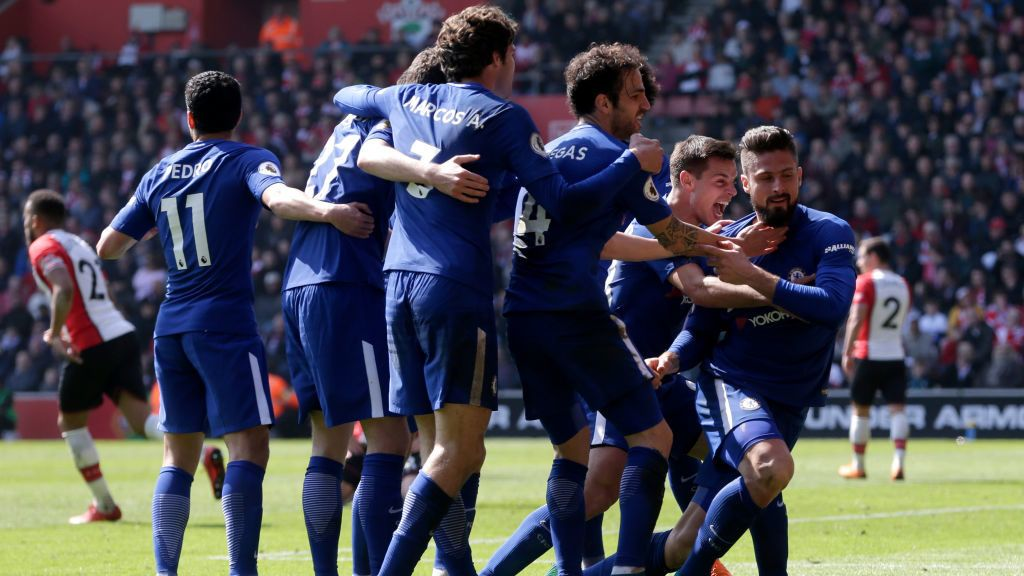 during the Premier League match between Southampton and Chelsea at St Mary's Stadium on April 14, 2018 in Southampton, England.