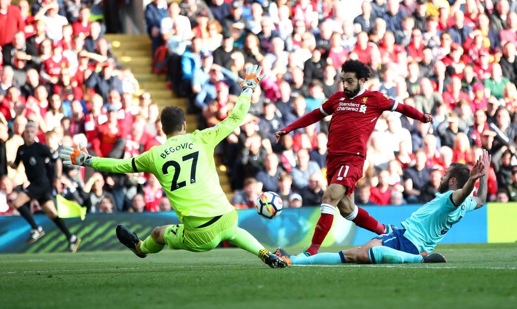 during the Premier League match between Liverpool and AFC Bournemouth at Anfield on April 14, 2018 in Liverpool, England.