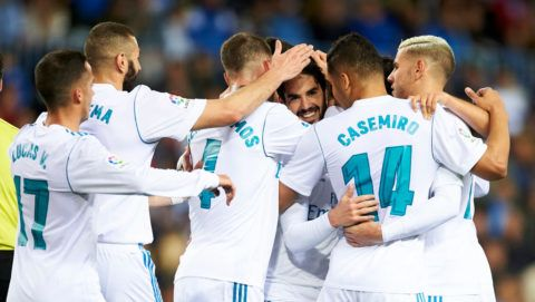 MALAGA, SPAIN - APRIL 15:  Isco Alarcon of Real Madrid celebrates after scoring goal during the La Liga match between Malaga CF and Real Madrid CF at Estadio La Rosaleda on April 15, 2018 in Malaga, Spain.  (Photo by Aitor Alcalde/Getty Images)