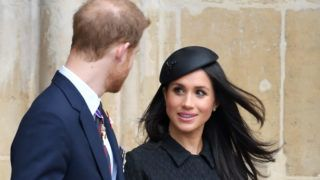 LONDON, ENGLAND - APRIL 25:  (EMBARGOED FOR PUBLICATION IN UK NEWSPAPERS UNTIL 24 HOURS AFTER CREATE DATE AND TIME) Prince Harry and Meghan Markle depart after attending the Anzac Day service of Thanksgiving and Commemoration at Westminster Abbey on April 25, 2018 in London, England.  (Photo by Karwai Tang/WireImage)