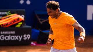 BARCELONA, SPAIN - APRIL 27:  Rafael Nadal of Spain celebrates his victory against Martin Klizan of Slovakia in their match during day five of the Barcelona Open Banc Sabadell on April 27, 2018 in Barcelona, Spain.  (Photo by Alex Caparros/Getty Images)