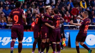 LA CORUNA, SPAIN - APRIL 29:  Philippe Coutinho of FC Barcelona celebrates with his team-mates after scoring his team's first goal during the La Liga match between Deportivo La Coruna and Barcelona at Abanca Riazor Stadium on April 29, 2018 in La Coruna, Spain.  (Photo by Quality Sport Images/Getty Images)