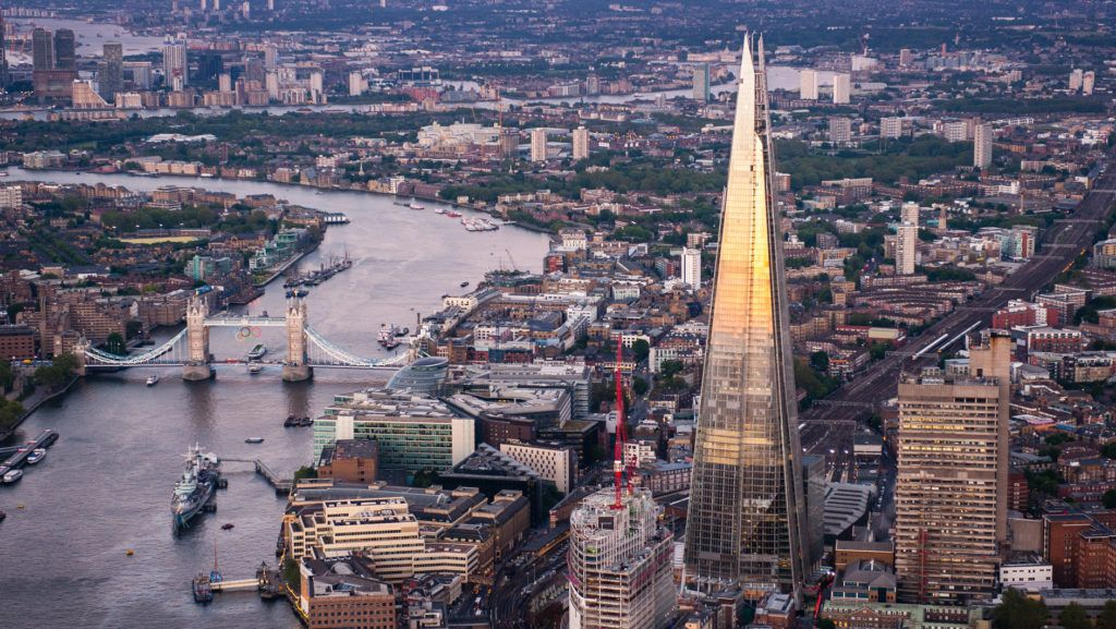 LONDON, ENGLAND - JUNE 28:  An aerial view of the Shard on June 28, 2012 in London, England. Standing at 309.6 metres high the Shard is the tallest buliding in Europe and was designed by architect Renzo Piano.  (Photo by Greg Fonne/Getty Images)