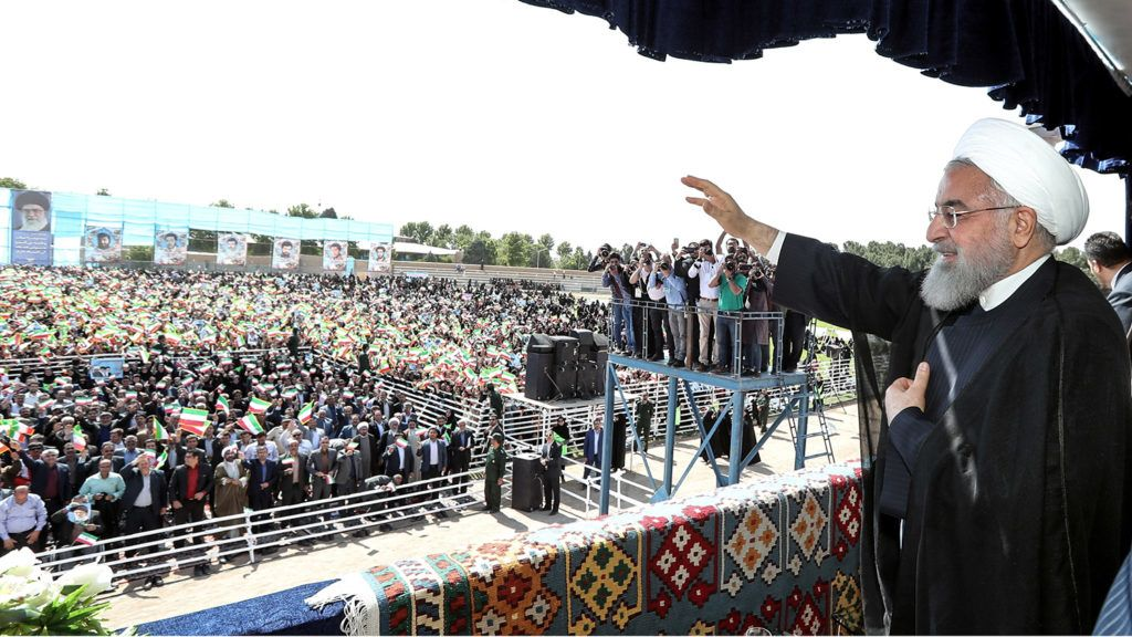 A handout picture provided by the Iranian presidency on May 6, 2018 shows President Hassan Rouhani giving addressing crowds during a rally in the northwestern city of Sabzevar.