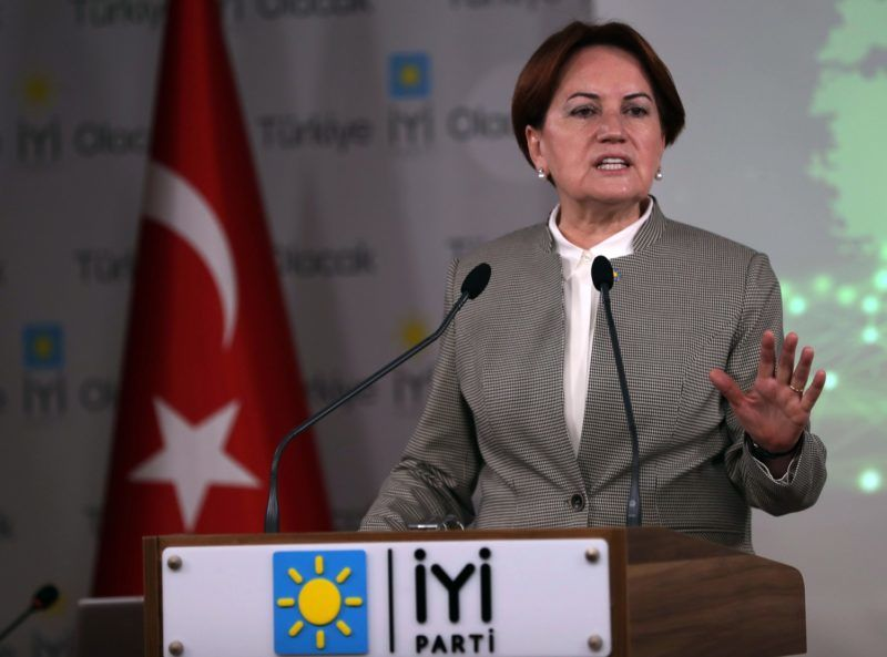 Chairman of the Good (Iyi) Party and Presidential candidate, Meral Aksener, gives a press conference at her party's headquarters in Ankara on May 7, 2018. / AFP PHOTO / ADEM ALTAN