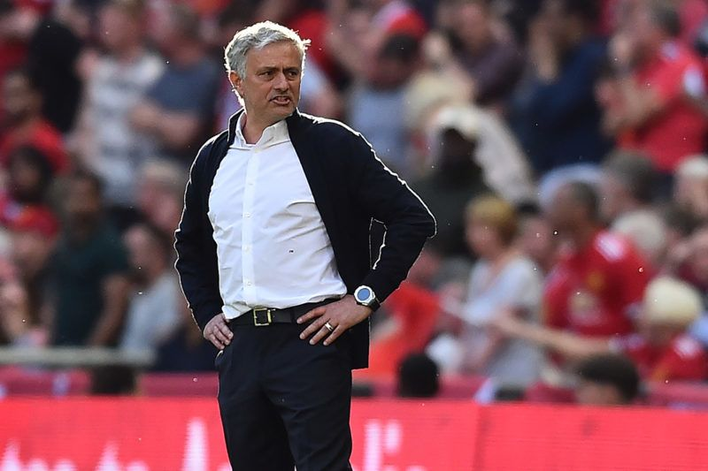Manchester United's Portuguese manager Jose Mourinho gestures from the touchline during the English FA Cup final football match between Chelsea and Manchester United at Wembley stadium in London on May 19, 2018. / AFP PHOTO / Glyn KIRK / NOT FOR MARKETING OR ADVERTISING USE / RESTRICTED TO EDITORIAL USE