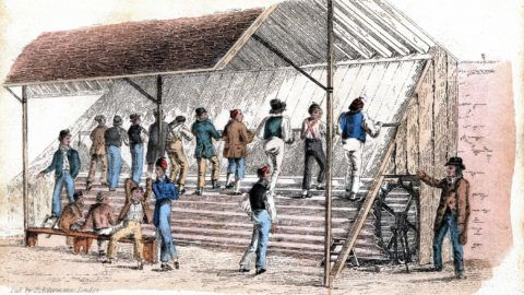 Treadmill at Brixton prison, London. Introduced for prison discipline by William Cubitt of Ipswich. Print published by Ackermann 1827LondonHand-coloured engraving