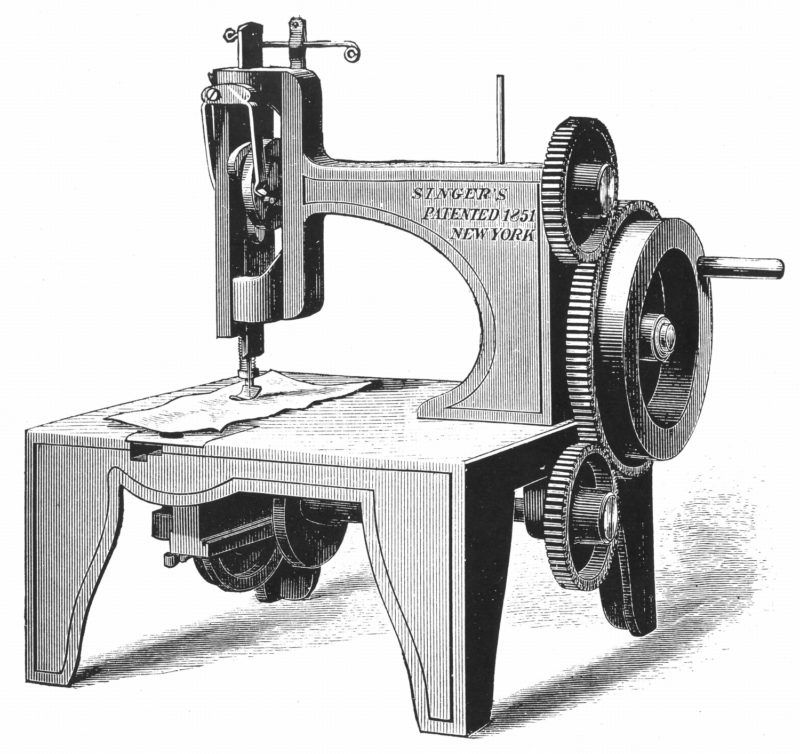 """Isaac Merrit Singer's (American inventor) first sewing machine, patented 1851 From """"Genius Rewarded or the Story of the Sewing Machine"""" 1880 Wood engraving New York"""