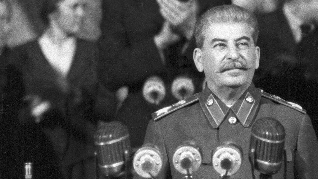 Generalissimo of the Soviet Union Josef V. Stalin addressing a pre-election rally of the electorate at the Stalinist constituency in Moscow.