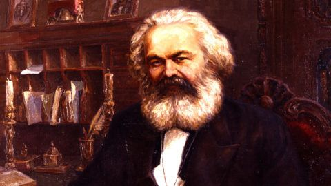 """Reproduction of """"Karl Marx"""" painting by artist L. Kalinovsky. 1961. From the Museum of Karl Marx and Frederick Engels in Moscow."""
