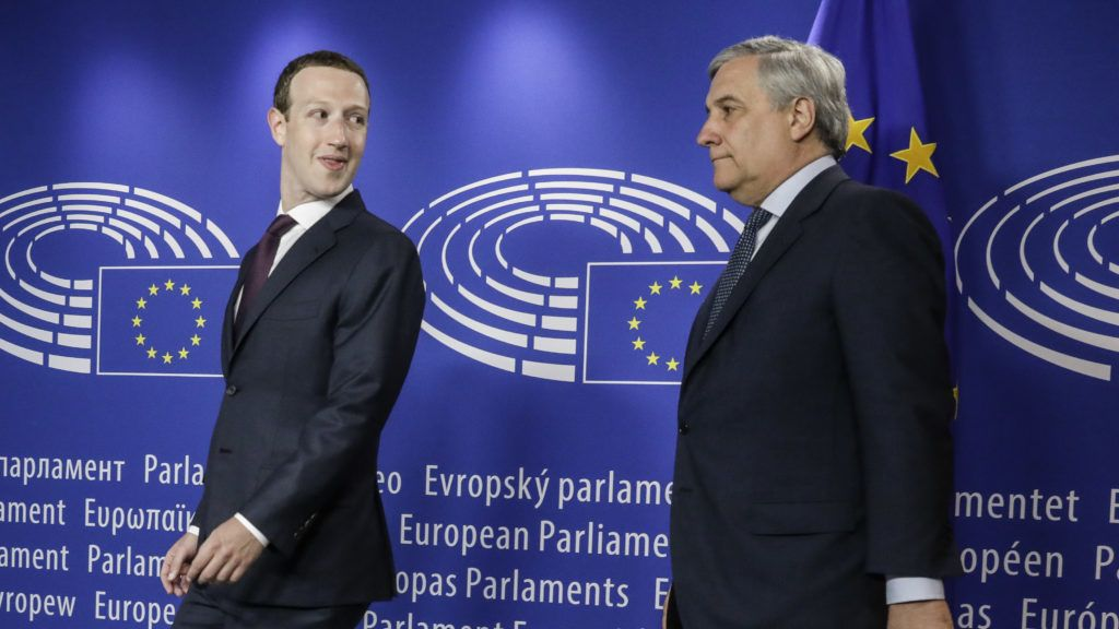 Facebook CEO Mark Zuckerberg (L) and European Parliament President Antonio Tajani pictured at the European Parliament ahead of the audition of Facebook CEO on the data privacy scandal, in Brussels,  Tuesday 22 May 2018. BELGA PHOTO THIERRY ROGE