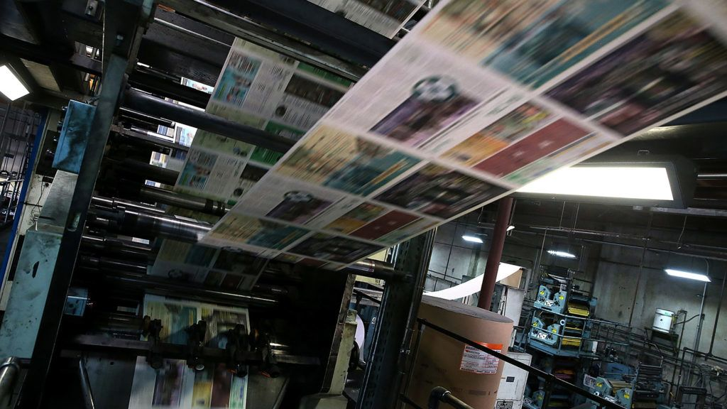 SAN FRANCISCO, CA - JANUARY 22: Copies of the new SF Evergreen, the San Francisco Bay Area's first marijuana-themed monthly newspaper, roll through the press at the San Francisco Newspaper Printing Company on January 22, 2015 in San Francisco, California. The San Francisco Media Company, the publisher of the San Francisco Examiner and The SF Weekly, is preapring to launch SF Evergreen, San Francisco's first monthly newspaper to cover the cannabis culture and industry. The free paper will be available on January 26.   Justin Sullivan/Getty Images/AFP