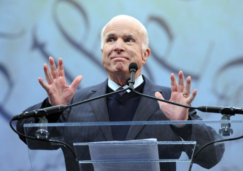 PHILADELPHIA, PA - OCTOBER 16: Sen. John McCain (R-AZ) makes remarks after receiving the the 2017 Liberty Medal from former Vice President Joe Biden (not shown) at the National Constitution Center on October 16, 2017 in Philadelphia, Pennsylvania.   William Thomas Cain/Getty Images/AFP