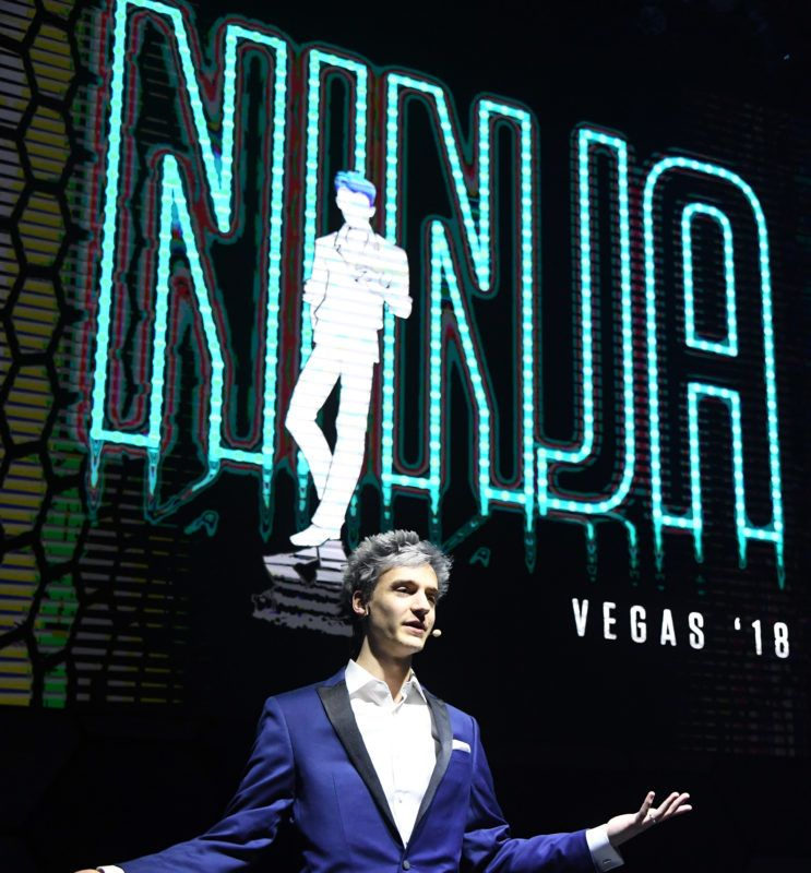 "LAS VEGAS, NV - APRIL 21: Twitch streamer and professional gamer Tyler ""Ninja"" Blevins is introduced during Ninja Vegas '18 at Esports Arena Las Vegas on April 21, 2018 in Las Vegas, Nevada. Blevins is playing against more than 230 challengers in front of 700 fans in 10 live ""Fortnite"" games with up to USD 50,000 in cash prizes on the line. He is donating all his winnings to the Alzheimer's Association.   Ethan Miller/Getty Images/AFP"