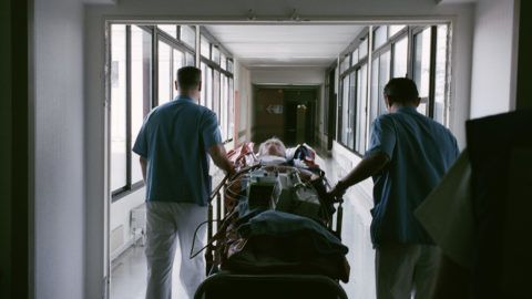 INTERIOR OF A HOSPITAL Photo essay from hospital. Transferring a patient. LOUISE OLIGNY / BSIP