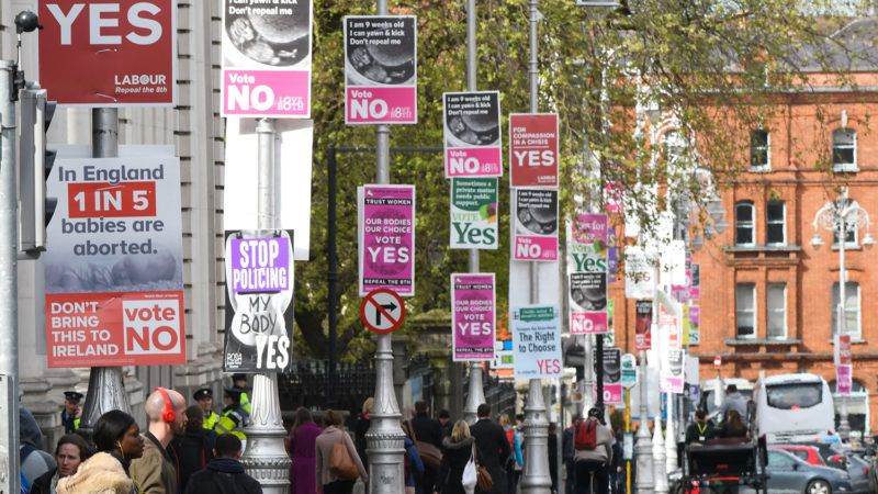 Vote YES near Vote NO posters seen in Dublin's city center advocating repeal and calling for retention of the Eighth Amendment of the Irish Constitution - a referendum fixed for May 25th.On Thursday, May 10, 2018, in Dublin, Ireland. (Photo by Artur Widak/NurPhoto)