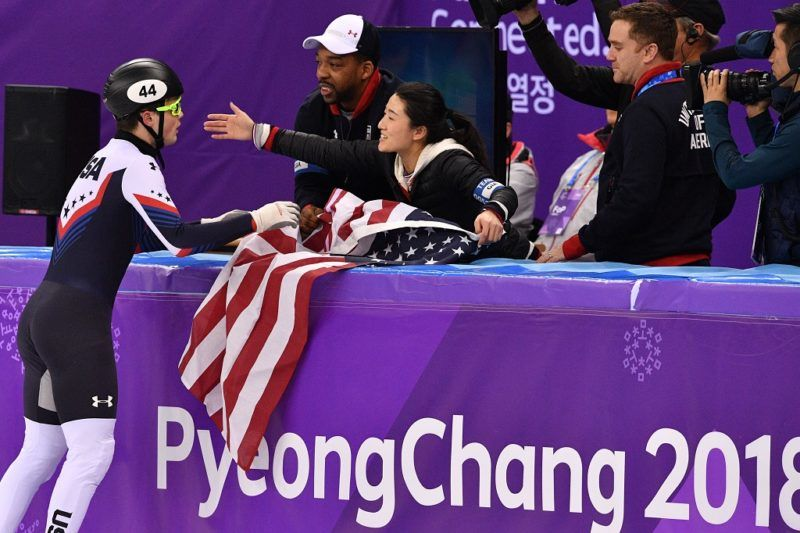 USA's John-Henry Krueger reacts after his silver win in the men's 1,000m short track speed skating A final event during the Pyeongchang 2018 Winter Olympic Games, at the Gangneung Ice Arena in Gangneung on February 17, 2018. / AFP PHOTO / Mladen ANTONOV