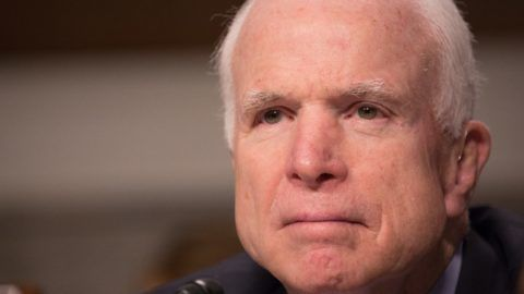 (FILES) In this file photo taken on March 14, 2017 Chairman Senator John McCain listens during the Senate Armed Services Committee on information surrounding the Marines United Website at the Dirksen Senate Office Building in Washington, DC on March 14, 2017 Senator John McCain, 81 and battling brain cancer, has made clear he does not want President Donald Trump to attend his funeral, US media reported Saturday, May 5, 2018.  McCain, a Vietnam war vet and respected senator from Arizona who has had a turbulent relationship with Trump, instead wants Vice President Mike Pence to represent the White House, The New York Times and NBC News said, quoting people close to McCain.  / AFP PHOTO / Tasos Katopodis