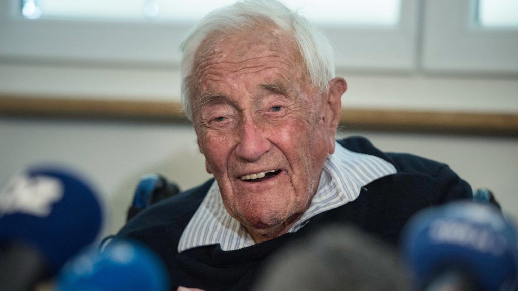 Australian scientist David Goodall attends a press conference on May 9, 2018, on the eve of his assisted suicide in Basel. A 104-year-old Australian scientist, resentful that he was forced overseas to die, addressed the media in Switzerland a day before he is due to end his life.Goodall does not have a terminal illness but says his quality of life has deteriorated and that he wants to die. Goodall, who according to Exit International attempted but failed to commit suicide on his own earlier this year, secured a fast-track appointment with assisted dying foundation Eternal Spirit in Basel.  / AFP PHOTO / SEBASTIEN BOZON