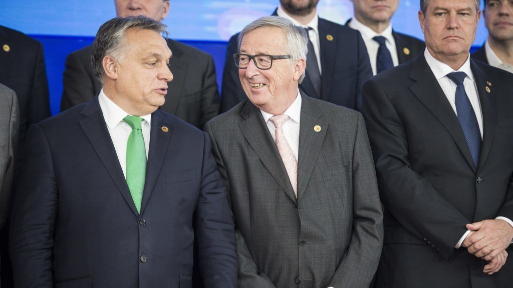 Hungarian Prime Minister Viktor Orban (L) and Jean-Claude Juncker , the president of the European Commission    during family photo of EU head of states summit on defense, migration and Brexit in Brussels, Belgium on 14.12.2017 by Wiktor Dabkowski | usage worldwide