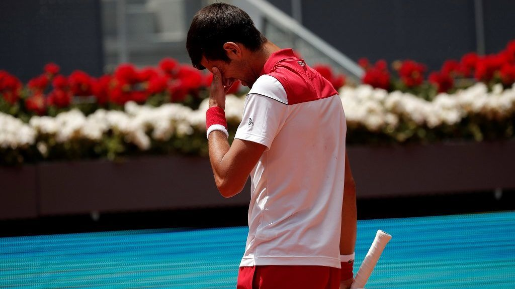 MADRID, SPAIN - MAY 09 : Novak Djokovic of Serbia in action against Kyle Edmund (not seen) of South Africa in the ATP Masters 1000 Men's open tennis match within the Mutua Madrid Open tennis tournament at the Caja Magica in Madrid, Spain on May 09, 2018.  Burak Akbulut / Anadolu Agency