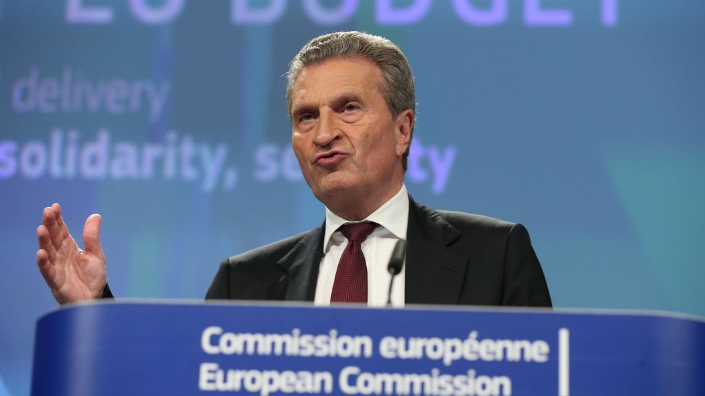 BRUSSELS, BELGIUM - MAY 23: EU Budget Commissioner Guenther Oettinger makes a speech during a press conference on Draft EU Budget 2019 in Brussels, Belgium on May 23, 2018. Dursun Aydemir / Anadolu Agency