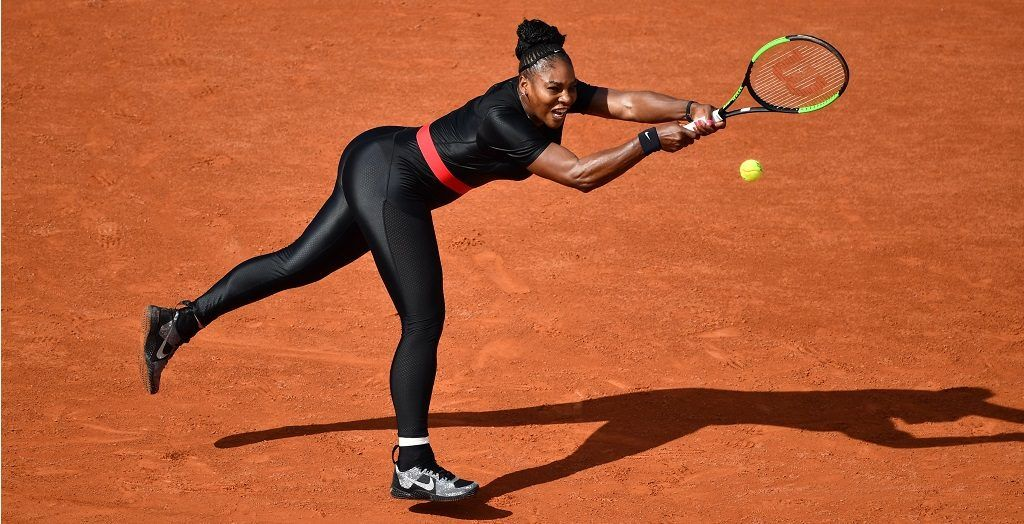 PARIS, FRANCE - MAY 29: Serena Williams of the USA in action against Kristyna Pliskova (not seen) of Czech Republic during their first round match at the French Open tennis tournament at Roland Garros Stadium in Paris, France on May 29, 2018. Mustafa Yalcin / Anadolu Agency