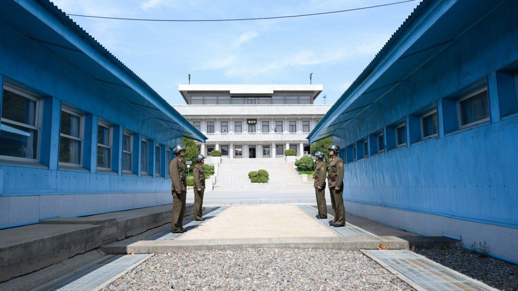 Soldiers at border between North Korea and South Korea, one day before the Inter-Korean Summit 2018, in Panmunjom, on April 26, 2018. (Photo by Inter Korean Press Corp/NurPhoto)