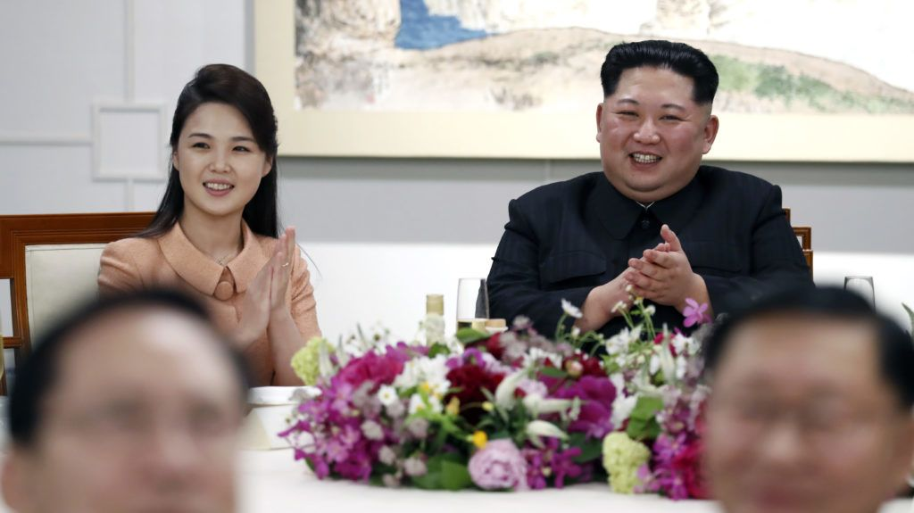 North Korea's leader Kim Jong Un (R) and his wife Ri Sol-ju during Inter-Korean Summit 2018 in Panmunjom on April 27, 2018. - The leaders of the two Koreas held a landmark summit on April 27 after a highly symbolic handshake over the Military Demarcation Line that divides their countries, with the North's Kim Jong Un declaring they were at the 'threshold of a new history'.  (Photo by Inter Korean Press Corp/NurPhoto)