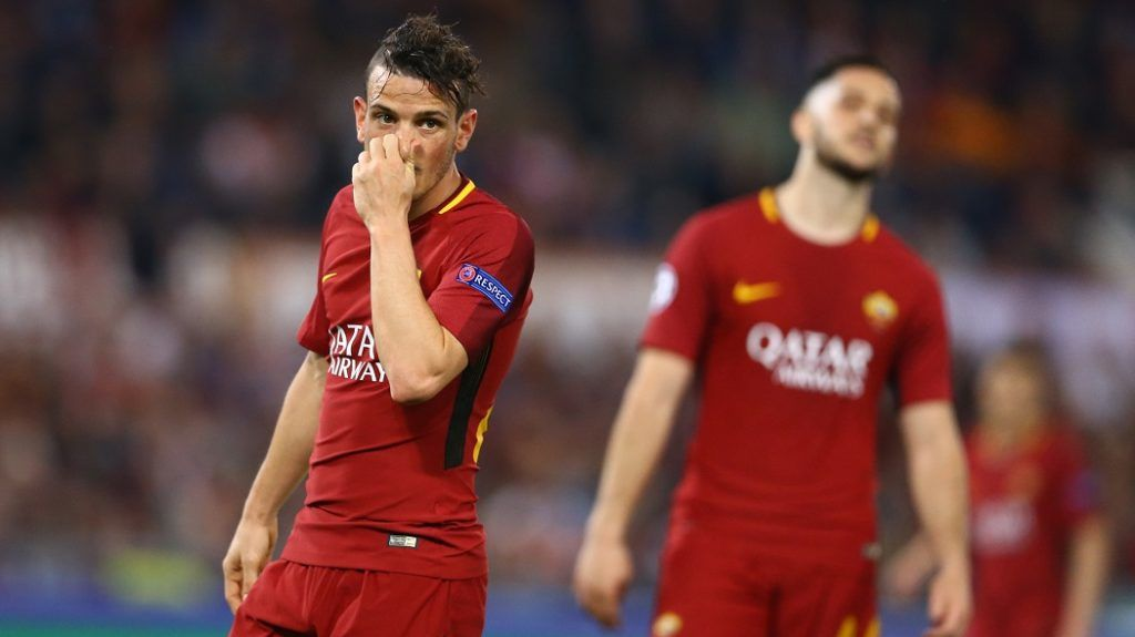 AS Roma v FC Liverpool - Champions League semi-final second leg The disappointment of Alessandro Florenzi and Konstantin Manolas of Roma at Olimpico Stadium in Rome, Italy on May 02, 2018  (Photo by Matteo Ciambelli/NurPhoto)