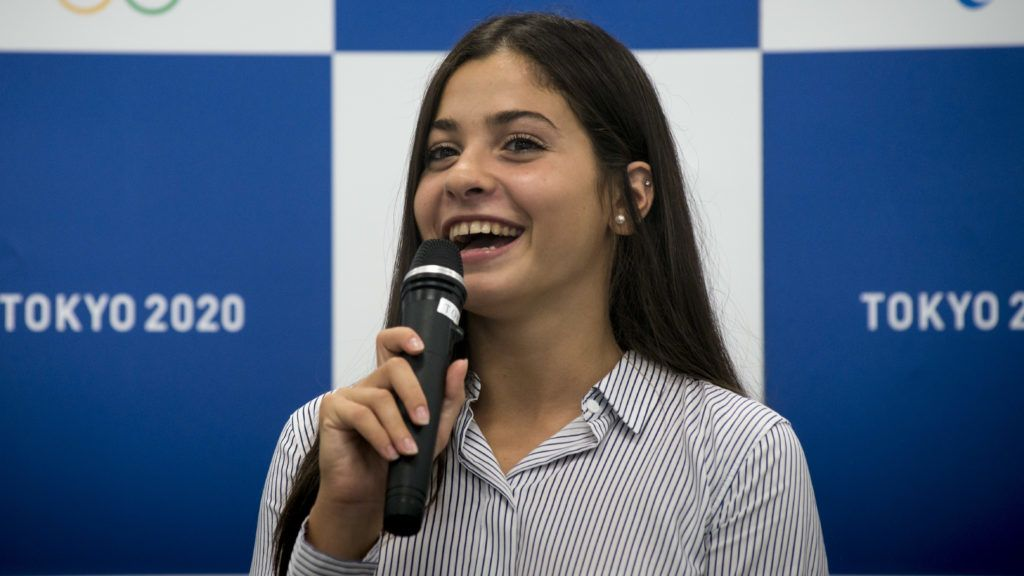 Yusra Mardini, a 19 year-old Syrian swimmer who competed at the Rio 2016 Olympic Games as a member of Refugee Olympic Team and UNHCR Goodwill Ambassador, she speaks in Tokyo 2020 office on August 29, 2017, Where she shares her experiences at the Rio 2016 Games and her current activity as an athlete and UNHCR Goodwill Ambassador with Tokyo 2020 staff members. (Photo by Alessandro Di Ciommo/NurPhoto)