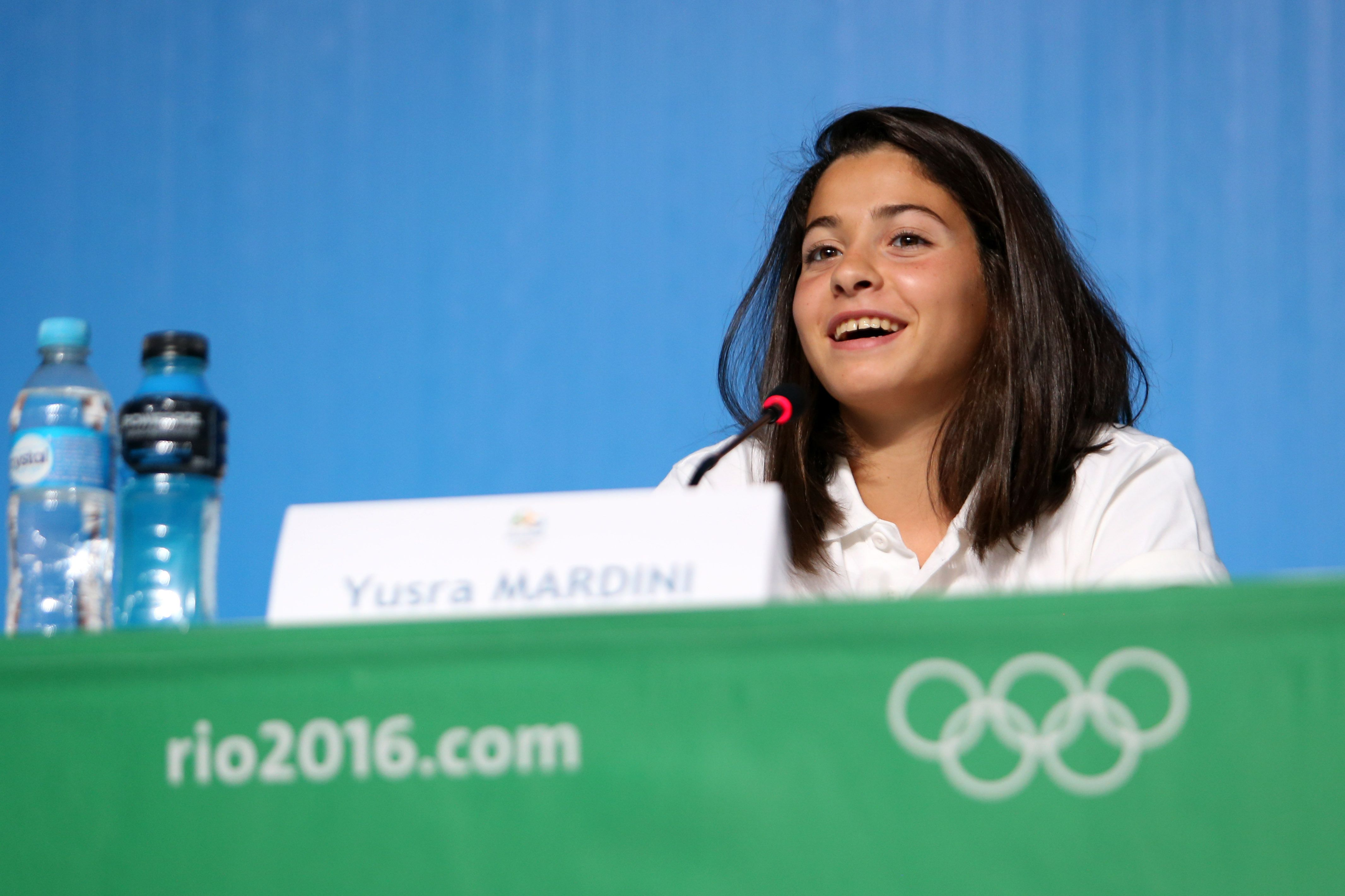 Syria's swimmer Yusra Mardini attends a press conference of the Refugee Olympics Team at the Main Press Center (MPC) of Rio Olympic Games in Rio de Janeiro, Brazil, on July 30, 2016.