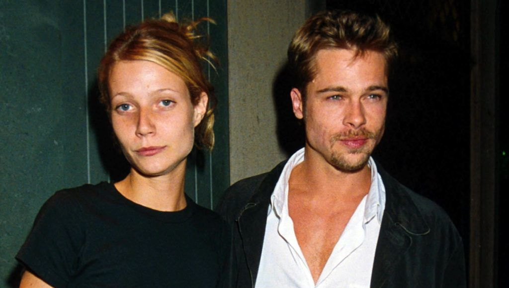 American actors Brad Pitt and Gwyneth Paltrow and at the Ivy restaurant in London, 14th August 1995.  (Photo by Dave Benett/Getty Images)