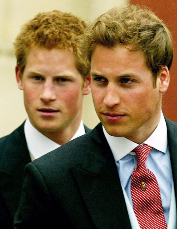 WINDSOR, UNITED KINGDOM - APRIL 9: Prince William and Prince Harry leave Windsor Guildhall after the wedding of Prince Charles, Prince of Wales to Camilla, Duchess of Cornwall on April 9, 2005 in Windsor, England. (Photo by Anwar Hussein/Getty Images)