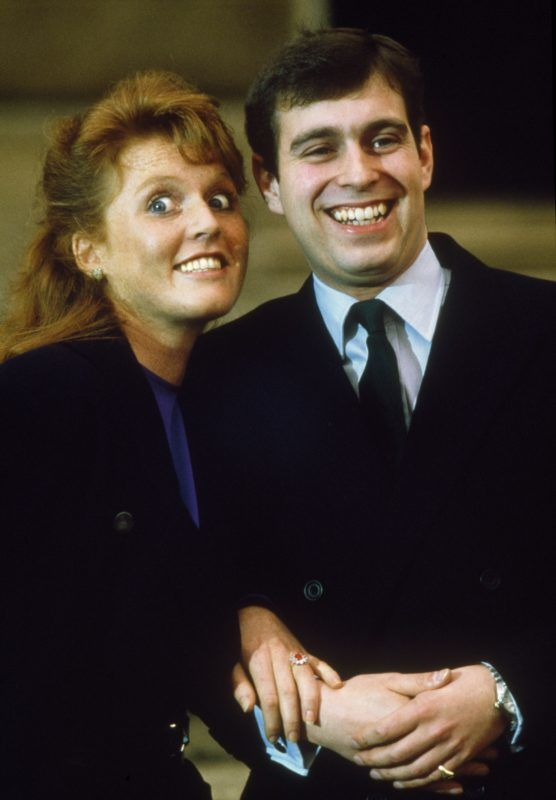 Prince Andrew, the Duke of York and Sarah Ferguson photographed at Buckingham Palace after the announcment of their engagement, London, 17th March 1986. Sarah wore a Burmese Ruby engagement ring. (Photo by Tom Stoddart/Getty Images)
