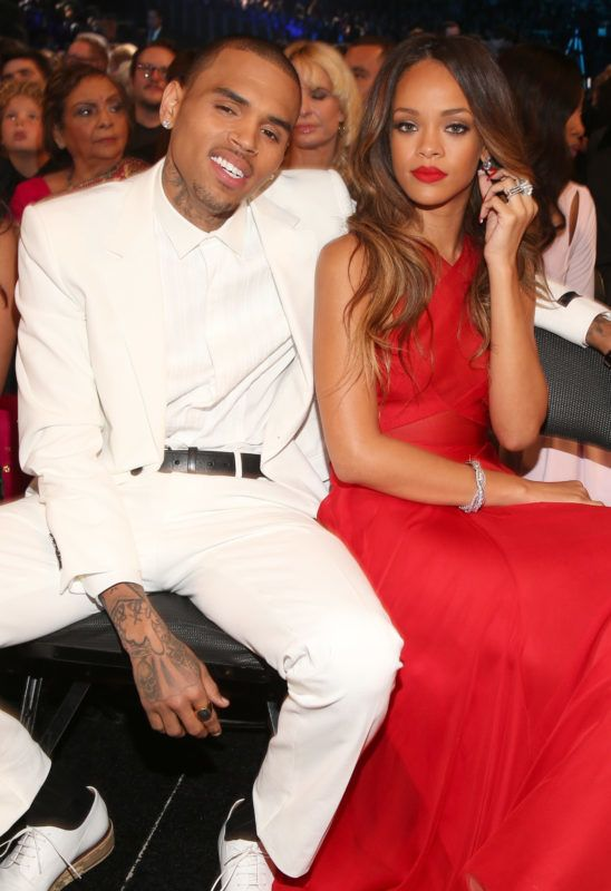 LOS ANGELES, CA - FEBRUARY 10:  Singers Chris Brown (L) and Rihanna attend the 55th Annual GRAMMY Awards at STAPLES Center on February 10, 2013 in Los Angeles, California.  (Photo by Christopher Polk/Getty Images for NARAS)