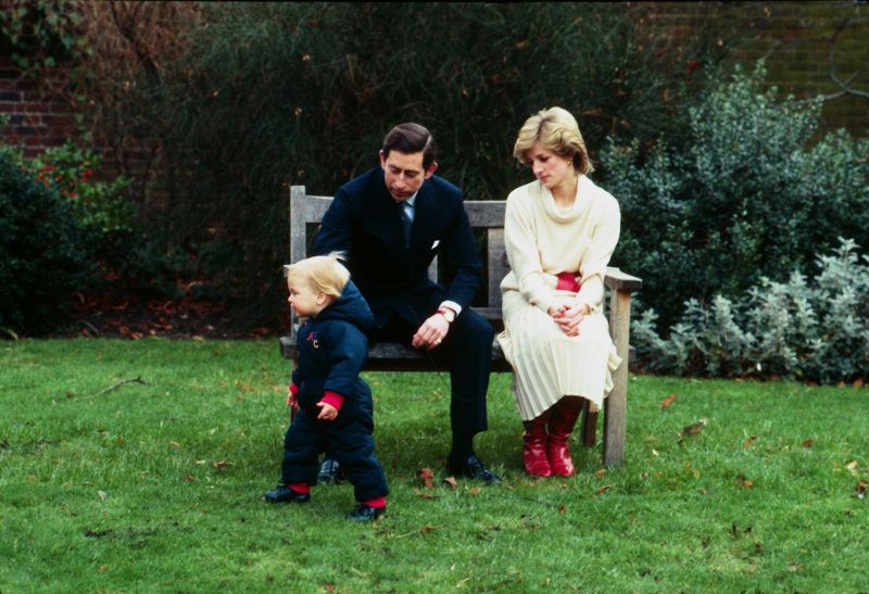 LONDON -DECEMBER 14:  Princess Diana, Princess of Wales and Prince Charles, Prince of Wales watch their toddler son Prince William in the gardens of Kensington Palace on December 14, 1983 in London, England. (Photo by Anwar Hussein/Getty Images)