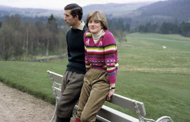 BALMORAL - MAY 06:  Prince Charles, Prince of Wales and his fiance Lady Diana Spencer pose for a photo before their wedding while staying at Craigowan Lodge on the Balmoral Estate on May 6,1981 in Balmoral, Scotland. (Photo by Anwar Hussein/Getty Images)