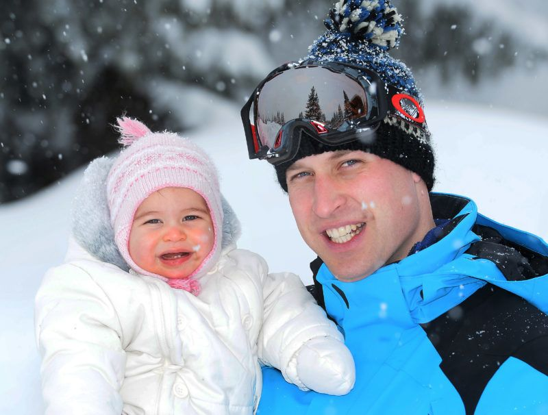 FRENCH ALPS, FRANCE - MARCH 3: (NEWS EDITORIAL USE ONLY. NO COMMERCIAL USE.  NO MERCHANDISING)  Prince William, Duke of Cambridge and Princess Charlotte, enjoy a short private skiing break on March 3, 2016 in the French Alps, France. (Photo by John Stillwell - WPA Pool/Getty Images)  (TERMS OF RELEASE - News editorial use only - it being acknowledged that news editorial use includes newspapers, newspaper supplements, editorial websites, books, broadcast news media and magazines, but not (by way of example) calendars or posters.)