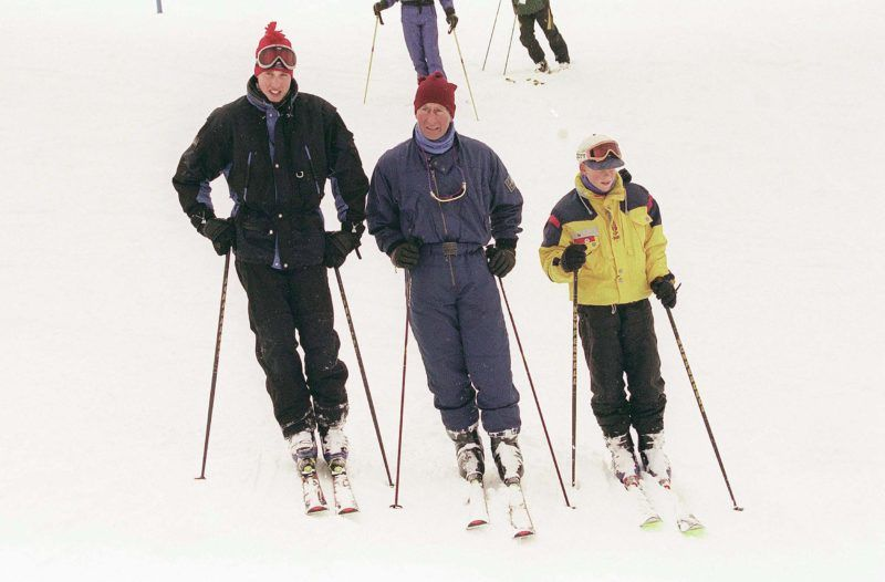 WHISTLER - MARCH 28: (FILE PHOTO)Prince William, Charles, Prince of Wales and Prince Harry ski  at the Whistler Mountain Resort on March 28, 1998 in Whistler, British Colombia, Canada (Photo by Anwar Hussein/Getty Images)