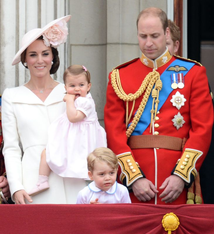 Catherine, Duchess of Cambridge, Princess Charlotte of Cambridge, Prince George of Cambridge and Prince William, Duke of Cambridge during the Trooping the Colour, this year marking the Queen's official 90th birthday at The Mall on June 11, 2016 in London, England. The ceremony is Queen Elizabeth II's annual birthday parade and dates back to the time of Charles II in the 17th Century when the Colours of a regiment were used as a rallying point in battle.