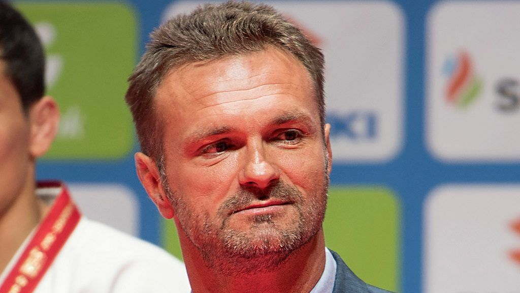 BUDAPEST, HUNGARY - AUGUST 28: Hungary's most successful judoka, Antal Kovacs who won Olympic and World gold medals in 1992 and 1993, presented the u60kg medals during the 2017 Suzuki World Judo Championships (Aug 28-Sept 3) at the Laszlo Papp Sports Arena on August 28, 2017 in Budapest, Hungary. (Photo by David Finch/Getty Images)