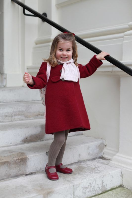 LONDON, UNITED KINGDOM - JANUARY 08: In this handout photo supplied by the Duke and Duchess of Cambridge, Princess Charlotte poses for a photograph taken by her mother, Catherine, Duchess of Cambridge, at Kensington Palace, shortly before the princess left for her first day of nursery at the Willcocks Nursery School on January 08, 2018 in London, United Kingdom. (Photo by Duchess of Cambridge via Getty Images)  Copyright: HRH The Duchess of Cambridge 2018. NEWS EDITORIAL USE ONLY. NO COMMERCIAL USE (including any use in merchandising, advertising or any other non-editorial use including, for example, calendars, books and supplements). This photograph is provided to you strictly on condition that you will make no charge for the supply, release or publication of it and that these conditions and restrictions will apply (and that you will pass these on) to any organisation to whom you supply it. All other requests for use should be directed to the Press Office at Kensington Palace in writing.   NOTE TO EDITORS: This handout photo may only be used in for editorial reporting purposes for the contemporaneous illustration of events, things or the people in the image or facts mentioned in the caption. Reuse of the picture may require further permission from the copyright holder.