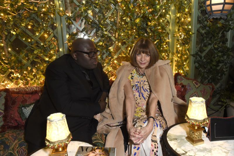 LONDON, ENGLAND - FEBRUARY 18:  Edward Enninful (L) and Anna Wintour attend as Tiffany & Co. partners with British Vogue, Edward Enninful, Steve McQueen, Kate Moss and Naomi Campbell to celebrate fashion and film at the new Annabels on February 18, 2018 in London, England.  (Photo by David M. Benett/Dave Benett/Getty Images for Vogue)