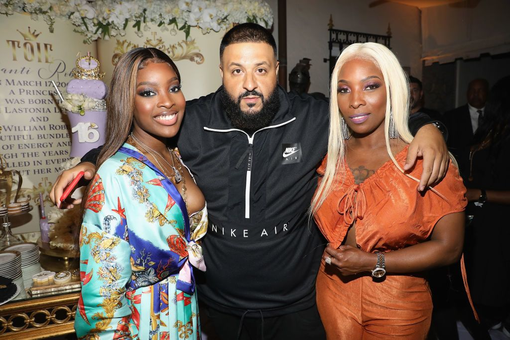 MIAMI, FL - APRIL 07:  Toie Robertson, Dj Khaled and Stonia Levinston attend Toie's Royal Court: Super Sweet 16 at Versace Mansion on April 7, 2018 in Miami, Florida.  (Photo by Alexander Tamargo/Getty Images for MME)