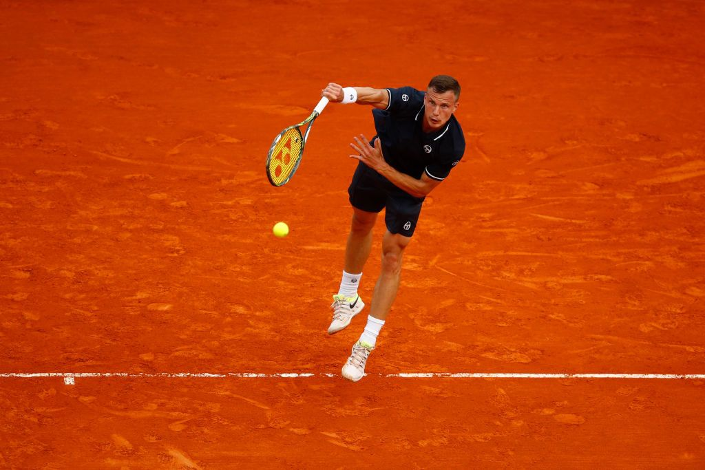 during the Men's single Round of 64 match between Marton Fucsovics and Daniil Medvedev on Day One of ATP Masters Series: Monte Carlo Rolex Master at Monte-Carlo Sporting Club on April 15, 2018 in Monte-Carlo, Monaco.