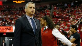 HOUSTON, TX - MAY 02:  Assistant coach Igor Kokoskov of the Utah Jazz walks to the court before the third quarter during Game Two of the Western Conference Semifinals of the 2018 NBA Playoffs against the Houston Rockets at Toyota Center on May 2, 2018 in Houston, Texas.  NOTE TO USER: User expressly acknowledges and agrees that, by downloading and or using this photograph, User is consenting to the terms and conditions of the Getty Images License Agreement.  (Photo by Tim Warner/Getty Images)