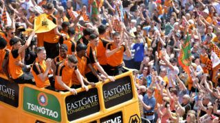 WOLVERHAMPTON, ENGLAND - MAY 07: Players of Wolverhampton Wanderers during their celebrations of winning the Sky Bet Championship on a winners parade around the city of Wolverhampton on May 7, 2018 in Wolverhampton, England. (Photo by Sam Bagnall - AMA/Getty Images)